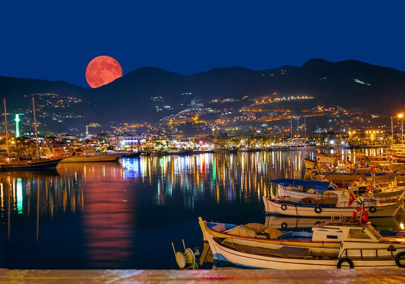 Alanya harbour by night