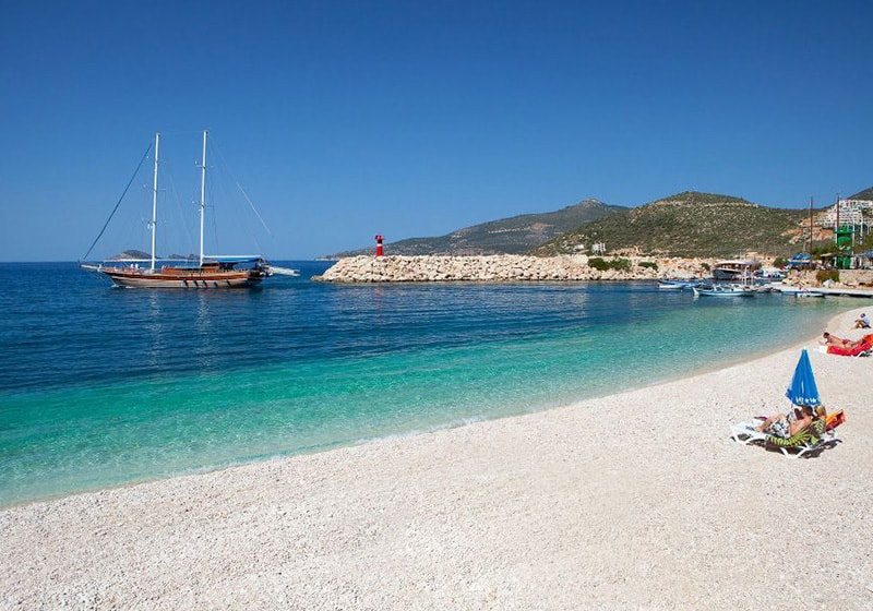 Kalkan public beach near the port
