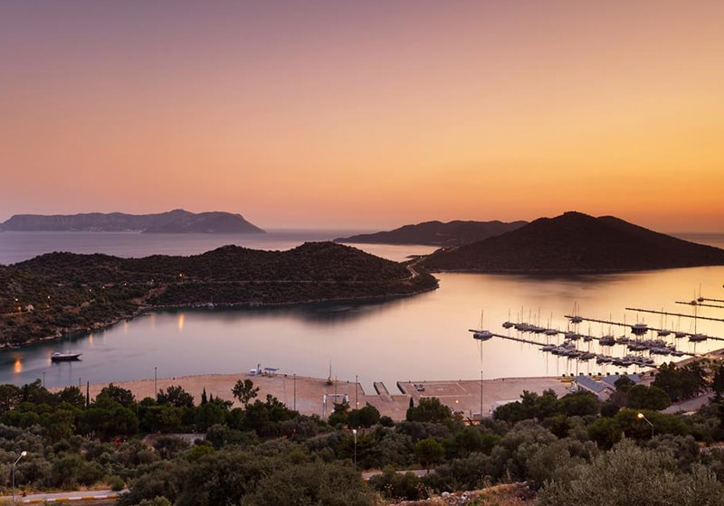 Kas port with sunset