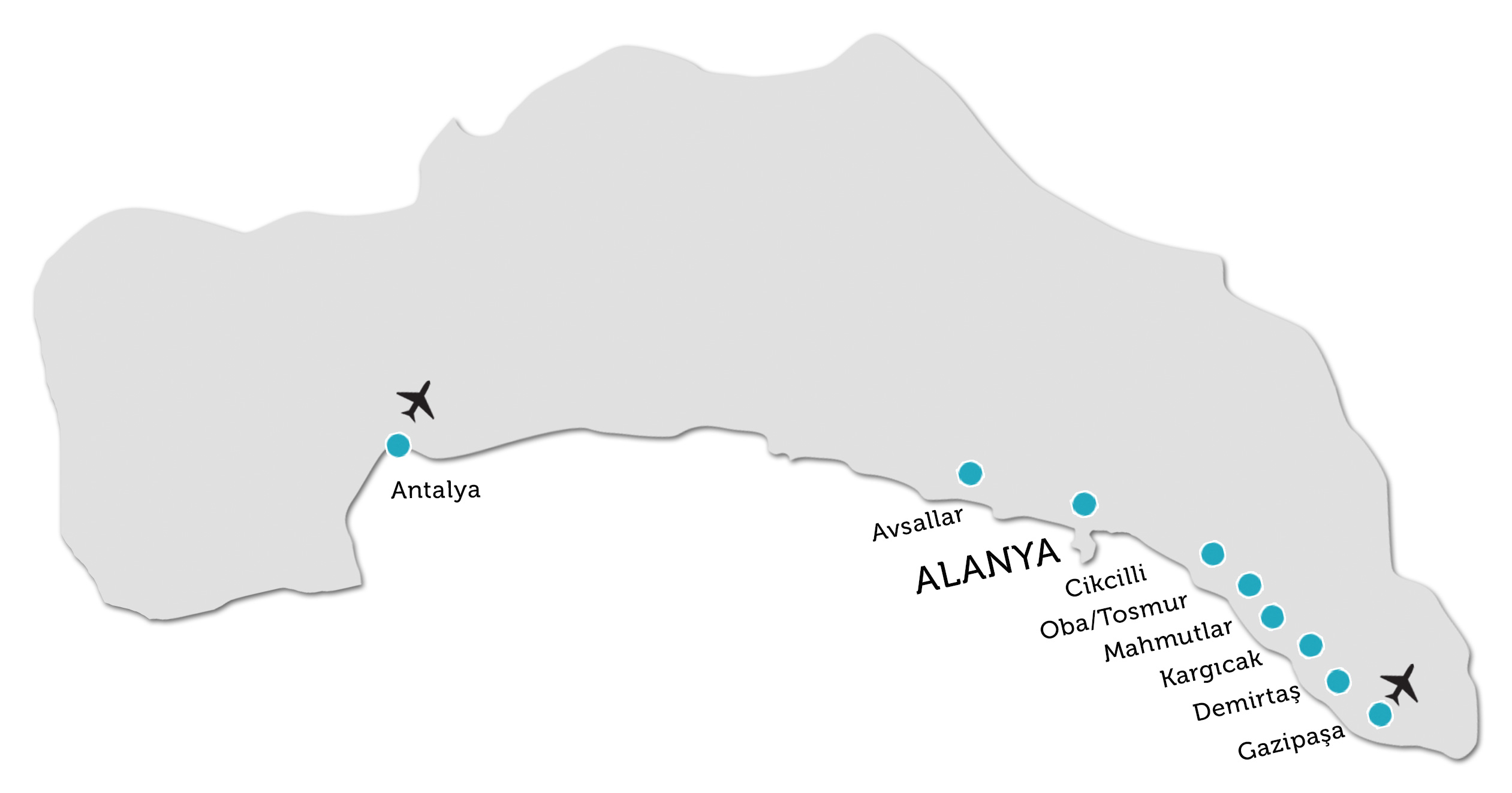 Alanya Property Locations On Map