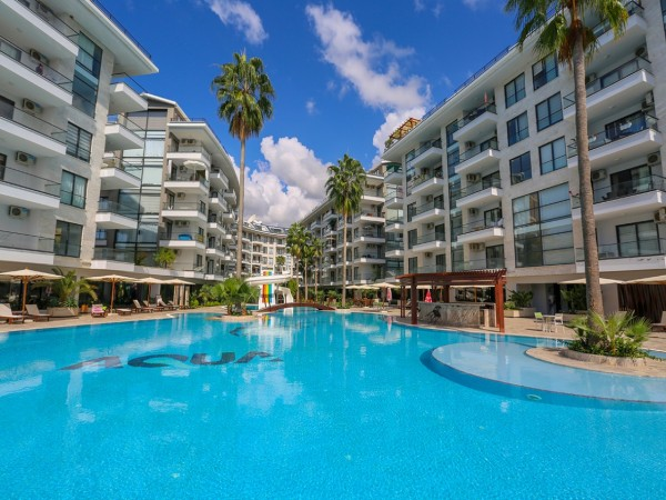 Cozy fully furnished studio apartment in large residential complex in Alanya