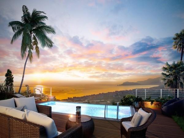 شقة للبيع ثلاث غرف نوم مع مناظر رائعة مطلة على خليج ألانيا