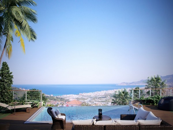 Modern design villas with stunning views for sale in Alanya